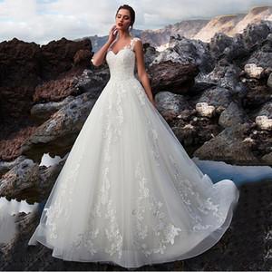 2020 Illusion A-Line Vestidos de casamento Lace Up Voltar vestidos de noiva formal personalizado Vestidos De Mariage lindo