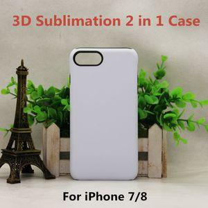 3D التسامي حالة 2 في 1 طبقة المطاط + PC مزدوجة حماية للحصول على 11 PRO XS XR 7 8 نقل الحرارة طباعة شل فارغ