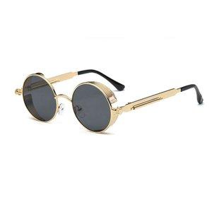 Venda quente redonda de metal Steampunk Óculos Homens Mulheres Moda Óculos Marca Designer Unisex Retro Rodada óculos grosso Vintage
