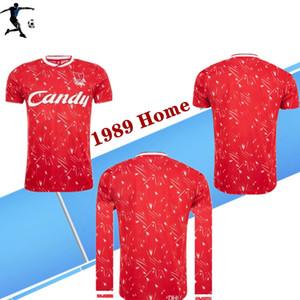 89Retro 버전 풀 레드 축구 유니폼의 경우 성인 짧은 소매 Collection1989 축구 셔츠 리그 클럽 사용자 지정 게임 유니폼 축구 셔츠