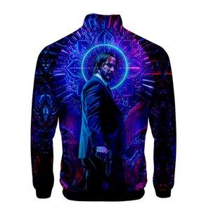 3D цифровой принт мужские куртки John Wick 3 стенд воротник с длинным рукавом Весна Мужская верхняя одежда модный дизайнер Мужские пальто