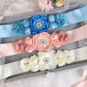 5PCS nupcial Belt das mulheres Flor Rosa elegante Cintura Rhinestone frisada nupcial vestido de casamento cinto cintos 7 Cores 5x270cm
