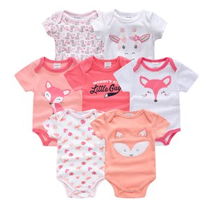 Honeyzone Summer Spring Body Baby Girl Bodysuit 100%Cotton Short Sleeve New born Baby Girl Clothes 7pcs set body bebe Jumpsuits