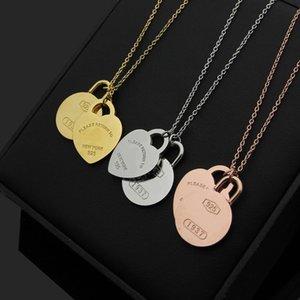2020 designer titanium steel jewelry T letter peach heart round brand double Pendant Necklace 18K gold hot Korean version Necklace
