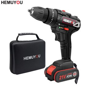 21V Impact Hammer Drill Household Rechargeable Mini Drill Cordless Screwdriver Power Tool + 3 8 inch 2 speed T200602