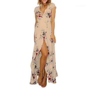 Lange tiefe V-Schärpen Designer Bohemian Kleider Strand Split Up-Feiertags-Kleid 19SS Frauen der neuen Sommer-Blumenkleid