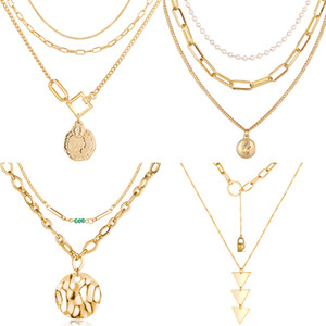 2020 New Fashion Multi-layered Gold Head Pendant Necklaces For Women Charm Classic Long Necklace Boho Jewelry