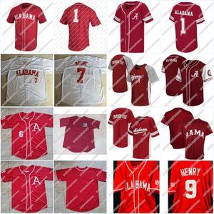 # 7 BEN MOORE Alabama Crimson Tide NCAA Baseball Jersey 100% bordado costurado Jersey Para Mens Womens Juventude alta Quailty