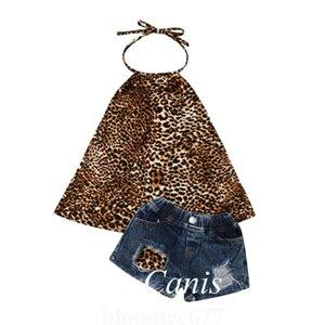 1-6Y Vêtements d'été tout-petits enfants Vêtements de bébé fille Leopard Top Jeans Shorts Pant Outfit Baby Set