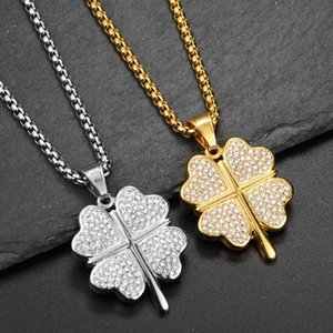 Diamond Four-leaf Clover Necklaces Hip Hop Men's and Women's Pendants Outdoor Nightclub Street Dance Party Hipster Must Accessories