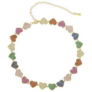 gökkuşağı cz Bildirimi Kız Hediye Sevimli Altın Gümüş Kolye Takı Collier Femme New Sweet Love Kalp gerdanlık kolye