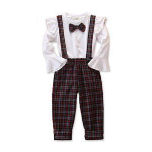 2019 Autumn Baby Girls Clothes Set Bowtie Flare Sleve Tops Tshirt Suspender Plaid Pants Kids 2pcs Set Children Outfits 15221