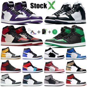 Hoch: 1 1s OG Jumpman Basketballschuhe High Court Lila White Pine Grün Schwarz Bred Toe zerschmetterten Backboard Travis scotts Stylist Turnschuhe