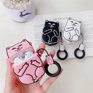Applicabile AirPods Apple Auricolari Bluetooth wireless Cover AirPods 2 Cute Cartoon Middle Finger Cat Headphones