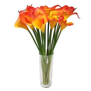6pcs / Lot artificielle Calla Lily Latex Real Touch zantedeschias Faux Fleurs de mariage Décoration de fête nuptiale Bouquet de fêtes