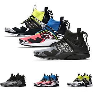 Mode Acronyme x Presto Mid Hommes Femmes Chaussures de course prestos Zapatillas Hot Lava dynamique Jaune Racer Rose Cool Gray Mens Sport Sneaker