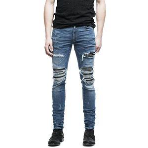 MORUANCLE Brand Designer Uomo Strappato Biker Jeans Hi-Street Distressed Moto Denim Joggers Pantaloni Patchwork in pelle Nero Blu