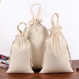 Pamuk Kumaş İpli Çantası Gıda İç Çorap Takı Organizatör Mutfak Çevre Un Pirinç Fasulye şarap şişesi Depolama çantası