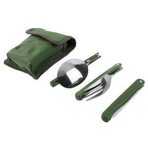 3Pcs Set Practical Folding Camping Tool Outdoor Tableware Folding Fork Spoon Knife Picnic Dinnerware Camping Kit For Sales