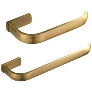 2Pc Bathroom Accessories Set - Towel Ring and Toilet Roll Holder Antique Brass Wall Mounted, Brushed Bronze