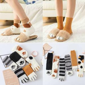 Gato do inverno Garra Quente bonito Grosso do sono Piso Meias Mulheres Meninas coral fleece Socks