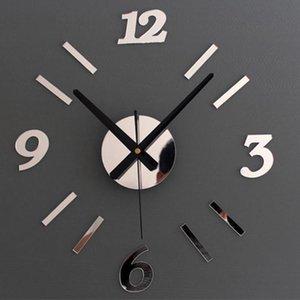 DIY 3D Acrylic Mirror Wall Clock Creative Wall Stickers Europe Quartz Living Room Clock Home Decoration High Quality