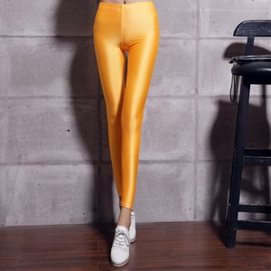 2019 new fashion personality Women's New Elastic Colour Ice Cream Glossy Pants Slim Candy Colored Fluorescent Pants Nine Score Underpants