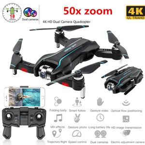 Ayarlanabilir Geniş Açı Kamera FPV Gerçek Zamanlı Hava video Katlanabilir quadrocopter Gesture Fotoğraf RC Dron Oyuncak T191016 ile WIFI Drone 4K HD