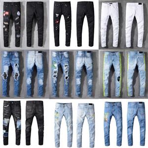 2020 Amiri Jeans Mens alta qualidade grife Homens jeans bordados calças roupas de moda Man Holes Luxo Calças US Tamanho 28-40