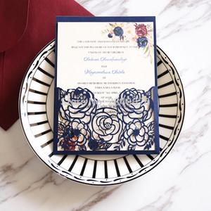 Personalisierte Marsala-Blumenhochzeits-Einladung, Laser schnitt kundenspezifische Einladungen, elegante Hochzeit, Marineeinladung