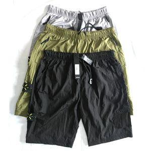 calças retro quente calções de praia suor 19ss europeus para homens calças metal importado nylon amantes de rua confortável coxa calças