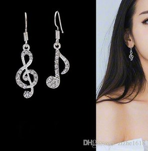Long earrings pendant woman silver fashion notes music wholesale present diamond jewelry girl ladies gift pop