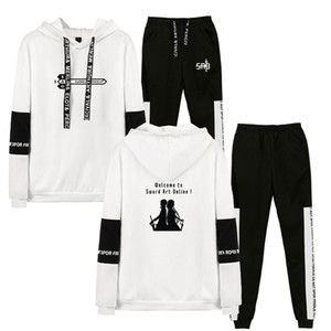 Men Sweat Suit Set 2020 Sword Art Online Hooded Sweatshirts Sporting Suits Men's Tracksuits Two Piece Hoodies+Pants 2pcs Sets