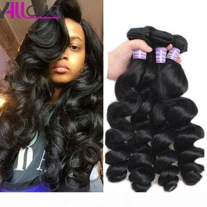 Allove 10A Loose Wave 4 Bundles Peruvian Virgin Hair Cheap Malaysian Loose Wave Indian Human Hair Bundles Brazilian Hair Extension