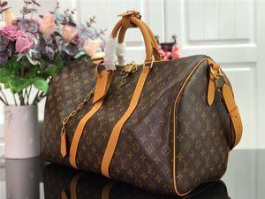 2020 Новых вещевого мешок Mens Женщина дорожной сумки черных ремешка коричневых кожаных сумок Лучшего качествоЛуисмонограммалвмужчины Keepall