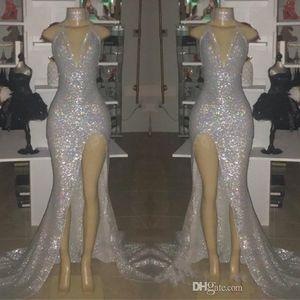 Sexy plata con cuello en V sin mangas de la sirena de los vestidos largos Prom 2019 Tamaño cabestro sin respaldo Plus partido se dividió formal vestidos de noche BC0633