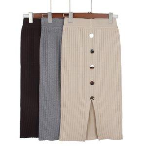 GIGOGOU taille haute Automne Hiver chaud tricot Femmes Jupe longue Femme Jupes Rib avec bouton Y200704
