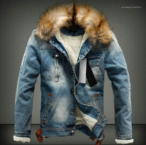 Thick Fur Designer Coats Long Sleeved Single Breasted Jacket Mens Washed Winter Jean Jackets Autumn