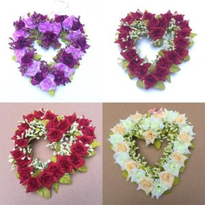 Festival Decoration Artificial Flowers Home Decor Love Heart Shape Wreath Wedding Venue Furnishings Hearts Shaped Wreathes 7 2oy L1