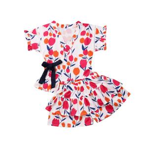 1-5Y cabrito del niño de la niña floral volante Tops cortocircuitos del equipo Ropa Verano pijama ropa de bebé
