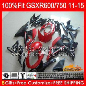 Инъекция для Suzuki GSXR 600 750 GSXR750 11 12 13 14 15 16 10HC.28 GSXR-600 K11 GSXR600 Matte Red Blk 2011 2012 2013 2014 2015 2011