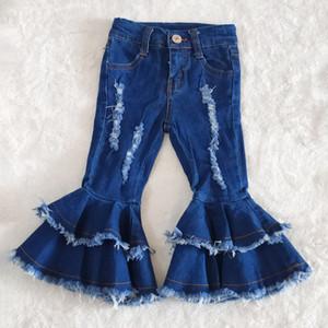 i pantaloni di vendita del progettista neonate boutique bambini dei jeans del bambino dei jeans delle ragazze di campana pantaloni inferiori neonata copre i pantaloni