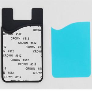 Nuovo arrivo sublimazione silicone titolare della carta portafogli portafoglio porta carte di credito con trasferimento di calore del film plastico per iPhone XS MAX Samsung