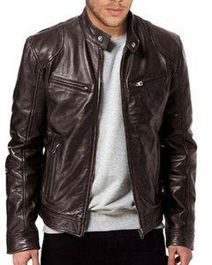 Hommes véritable veste en cuir d'agneau en cuir noir brun 2020 nouvelle mode homme hiver chaud slim ajustement mai-ferme bike veste moteau de veste streewear