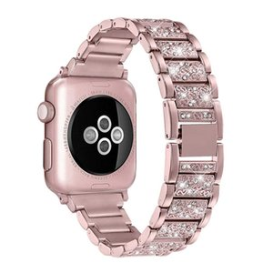 Diamante de lujo de la correa del metal para la banda de reloj de Apple 38mm 40mm 42mm 44mm pulsera de eslabones de acero inoxidable para iWatch 5 4 3 2 1