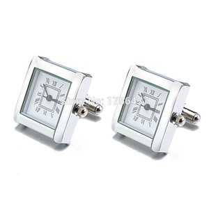 Lepton Functional Watch Cufflinks For Men Square Real Clock Cuff links With Battery Digital Mens Watch Cufflink Relojes gemelos CJ191116