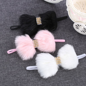 Headband para Fur Banda 1PC bonito bowknot meninas miúdos lindo grande arco Coelho Faux mantilha Rhinestone cabelo