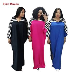 Afrikanische Maxi Kleider Frauen Frühling Sommer Herbst Damen Langes Kleid Hijab Striped Plus Größe Lose Afrikanische Kleidung Fee Träume