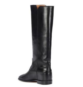 Perfecta Diseño Nuevos Zapatos Isabel ajedrez botas de cuero de París Street Style Moda Marant Negro de piel oculta cuña botas de montar