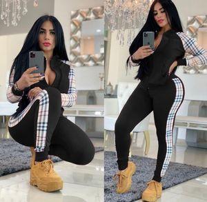 Designer donne Tuta lattice modello con cappuccio pantaloni 2pcs casuale comodo Yoga Sport all'aria aperta manica lunga Jogger Abbigliamento